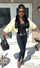 Designer beige white Ermine & Black fox Fur coat jacket stroller bolero XS-S 0-6