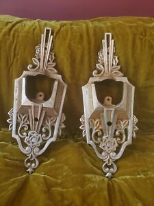 Antique Pair Rare Art Deco Nouveau Slip Shade Wall Light Sconces Floral Design