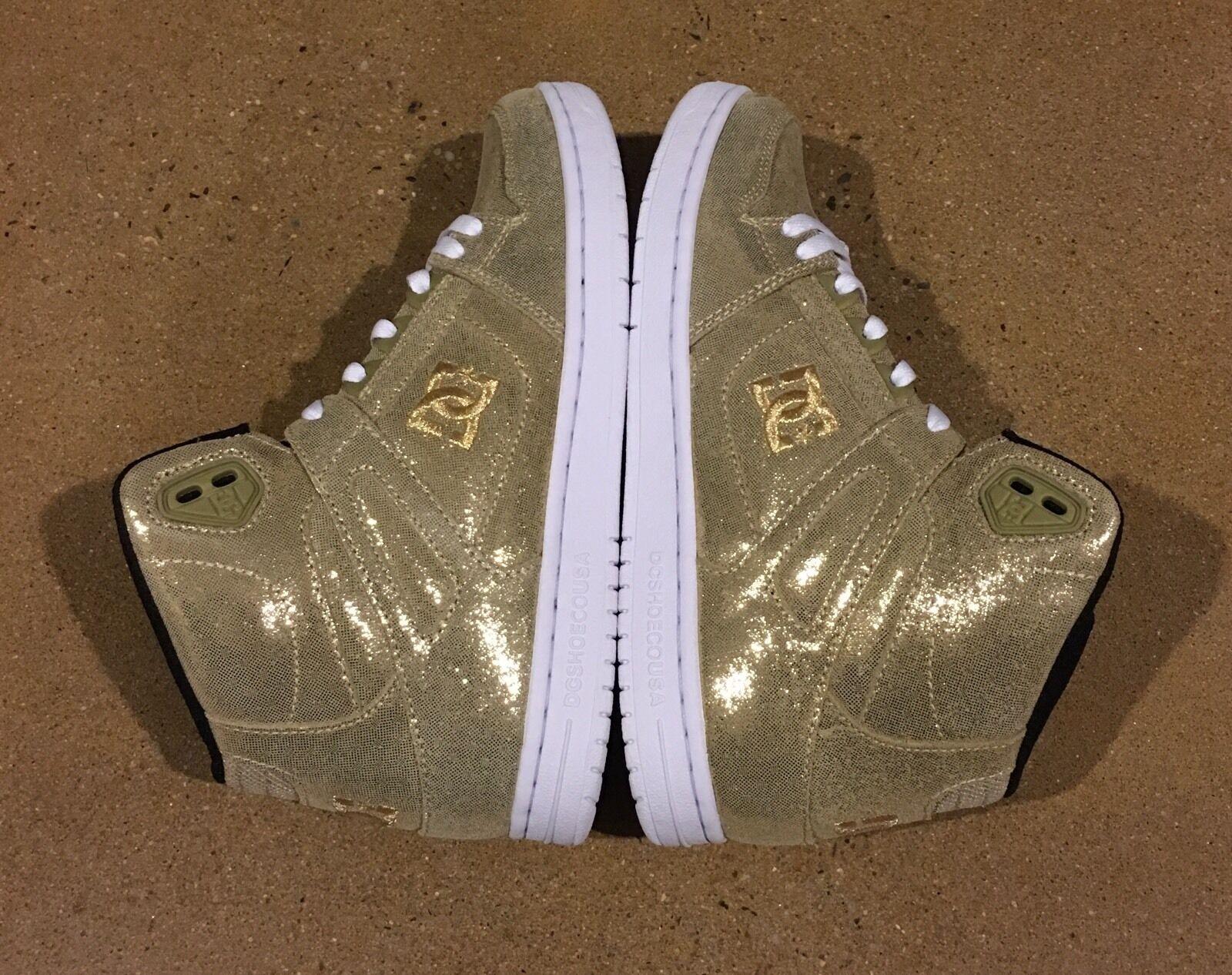 DC Rebound High SE Women's Size 7 US Gold BMX Skate Shoes Sneakers