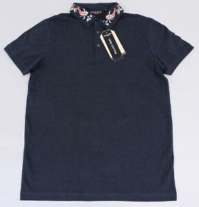 Boohoo-Men-039-s-Brave-Soul-Embroidered-Collar-Polo-T-Shirt-TM8-Navy-Medium-NWT