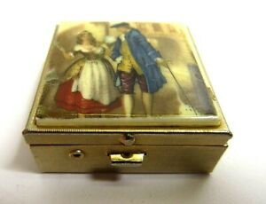 Vintage-Colonial-Couple-Pill-Case-Metal-Hinged-Trinket-Box