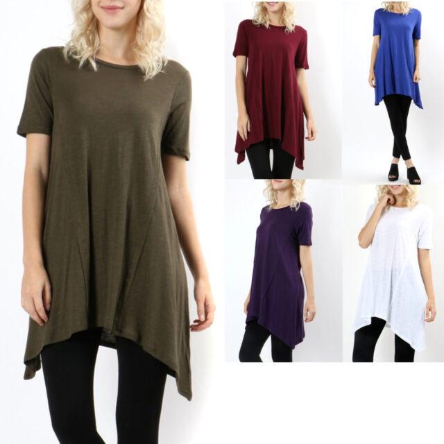 Cotton Short Sleeve Asymmetrical Hem Tunic Womens Top Knit T-Shirt Long