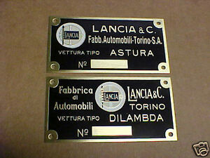 Lancia-Color-Logo-acid-etched-brass-data-plate-1930s-CHOICE-Astura-or-Dilambda