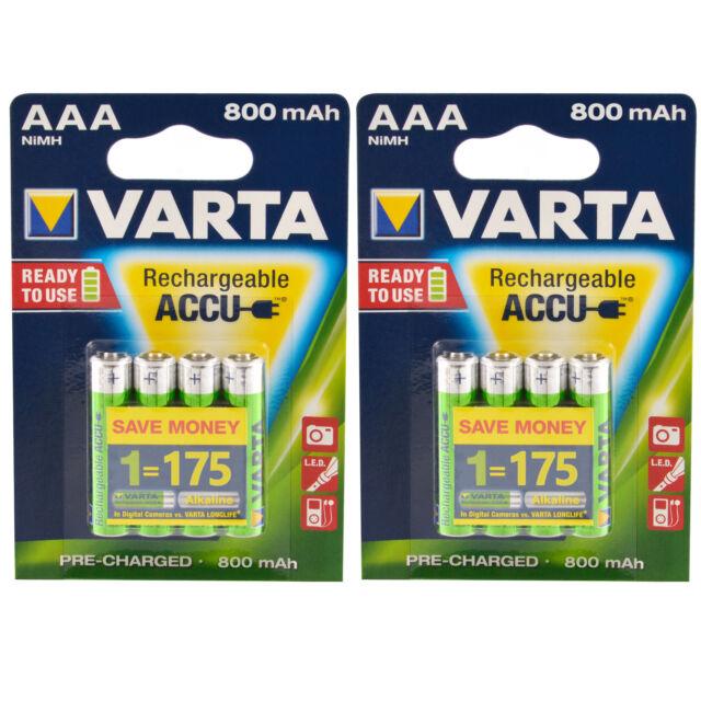 8x Akku AAA Micro Varta Rechargeable Accu 800 mAh NiMH Ready2Use HR03 8 Stück