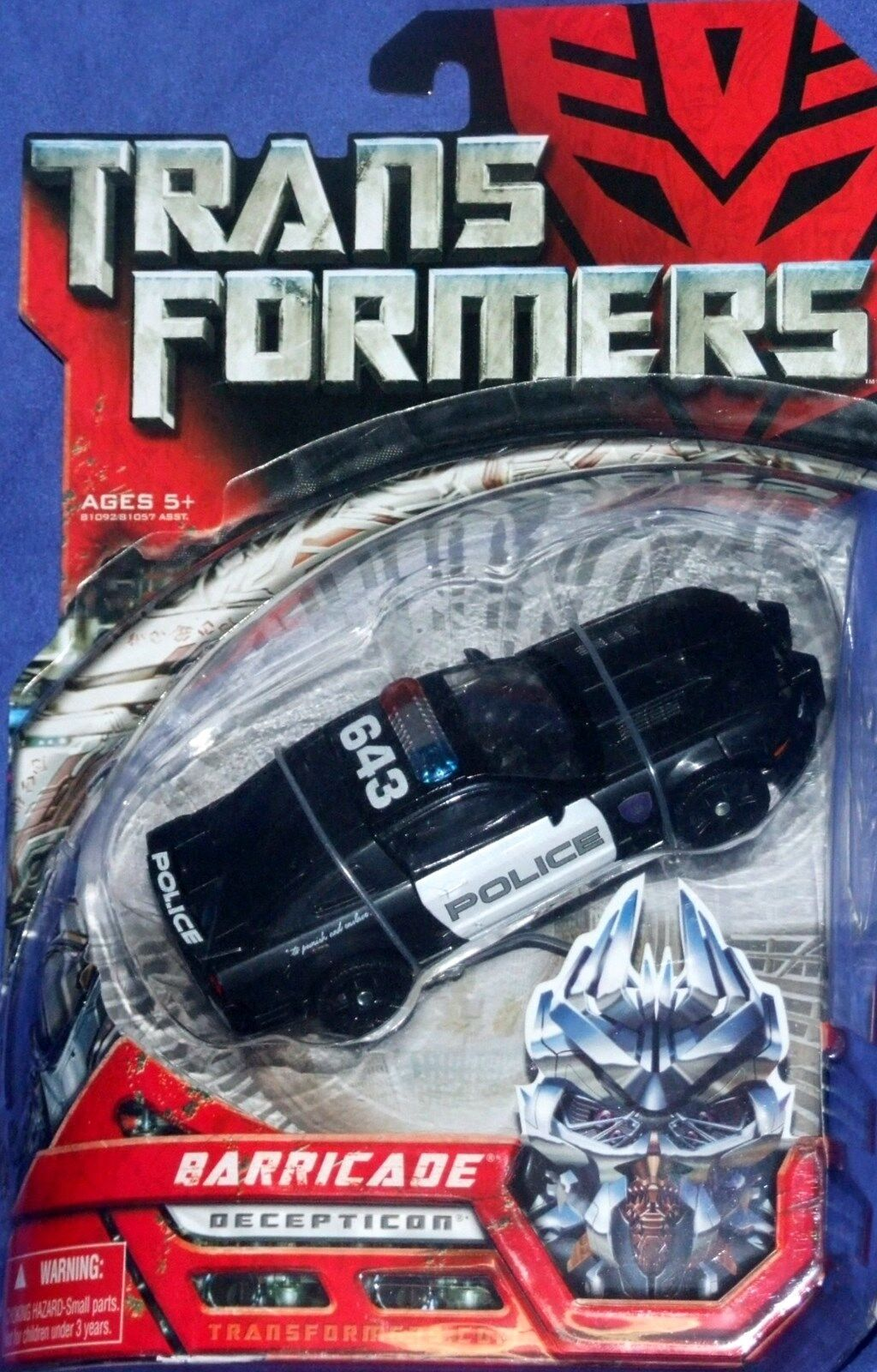 Transformers Movie Deluxe Class Deception BARRICADE Police Car Mustang Nuovo