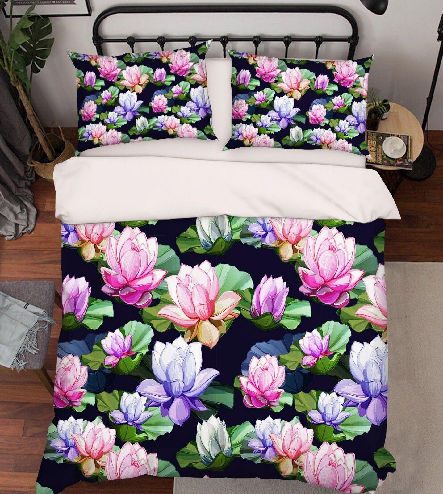 3D Colour Lotus Paint 22 Bed Pillowcases Quilt Duvet Single Queen King US Summer