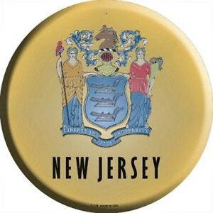 """NJ New Jersey State Flag 12/"""" Round Metal Sign US Patriotic Man Cave Home Decor"""