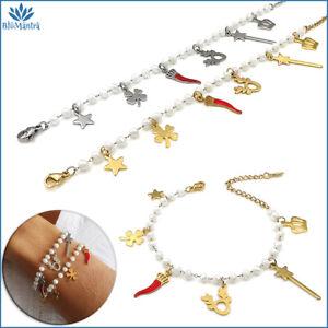Bracciale da donna perle stella stelline portafortuna in acciaio braccialetto a