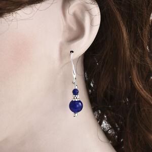 5ec0a6cea70dc Details about Beautiful Bold Blue Lapis Lazuli Stone Drop Dangle Silver  Earrings for Women C
