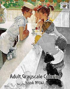 Adulto-colorazione-BOOK-24-pagine-per-bambini-vita-NORMAN-ROCKWELL-Flonz-scala-di-grigi-061
