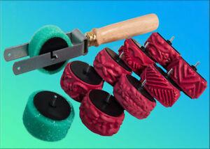 Abroller mit Schwammrolle + Ersatz + 8 Streifenwalzen<wbr/>, Malerwalzen, Malerrollen