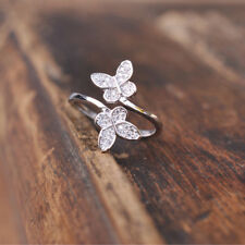 12e75200d1b804 925 Sterling Silver Open Ring Adjustable Thumb Finger Toe Butterfly  Jewellery