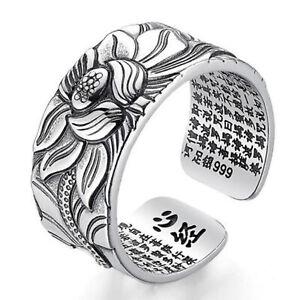 Frauen-Ring-Schmuck-freie-Groesse-oeffnen-Lotus-Flower-Silber-Herz-Sutra-Geschenk