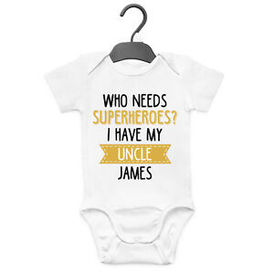 MY UNCLE WILL TEACH ME FUN PERSONALISED BABY GROW VEST CUSTOM FUNNY GIFT CUTE