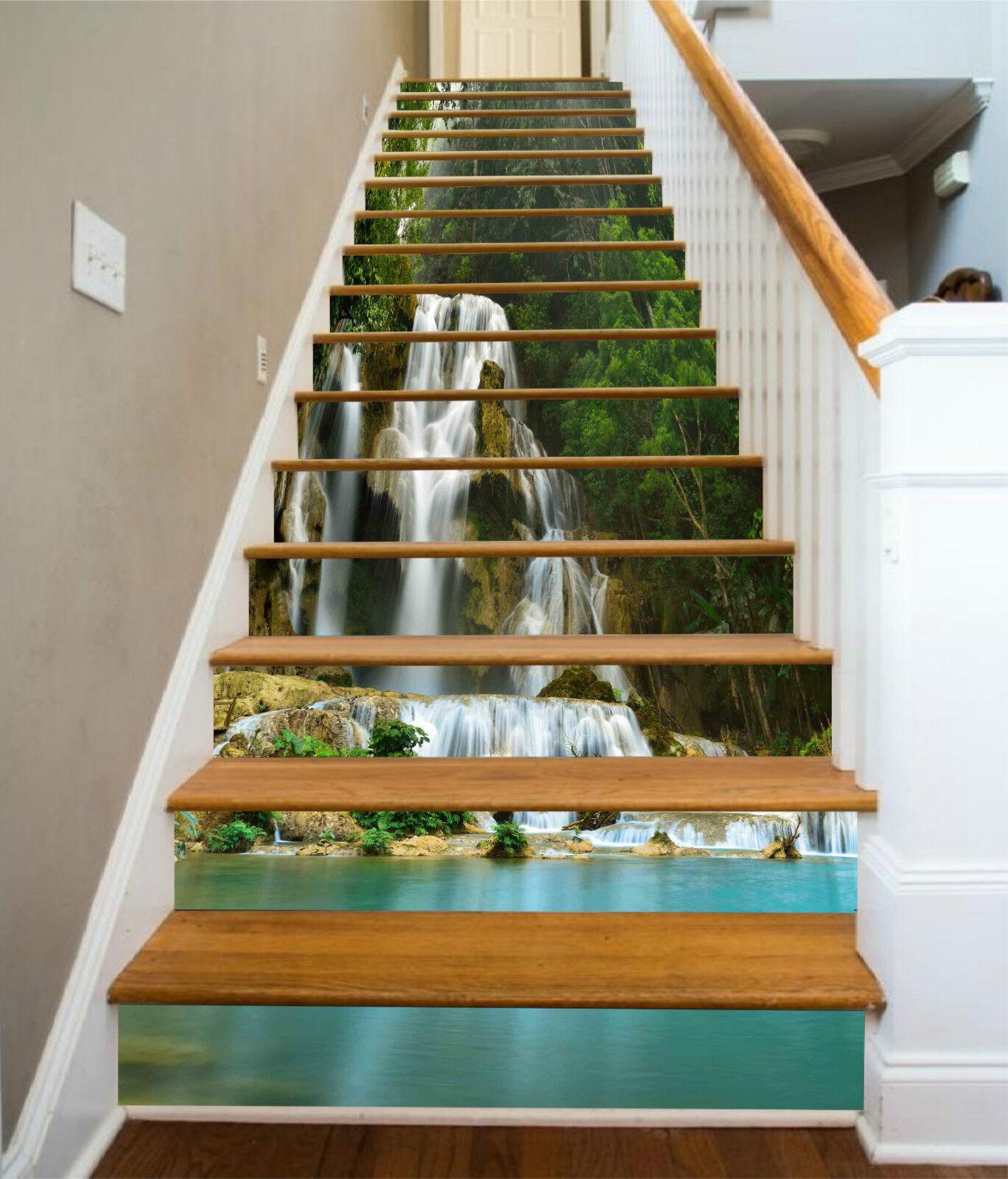 3D Wasserfall See 3 Stair Risers Dekoration Fototapete Vinyl Aufkleber Tapete DE
