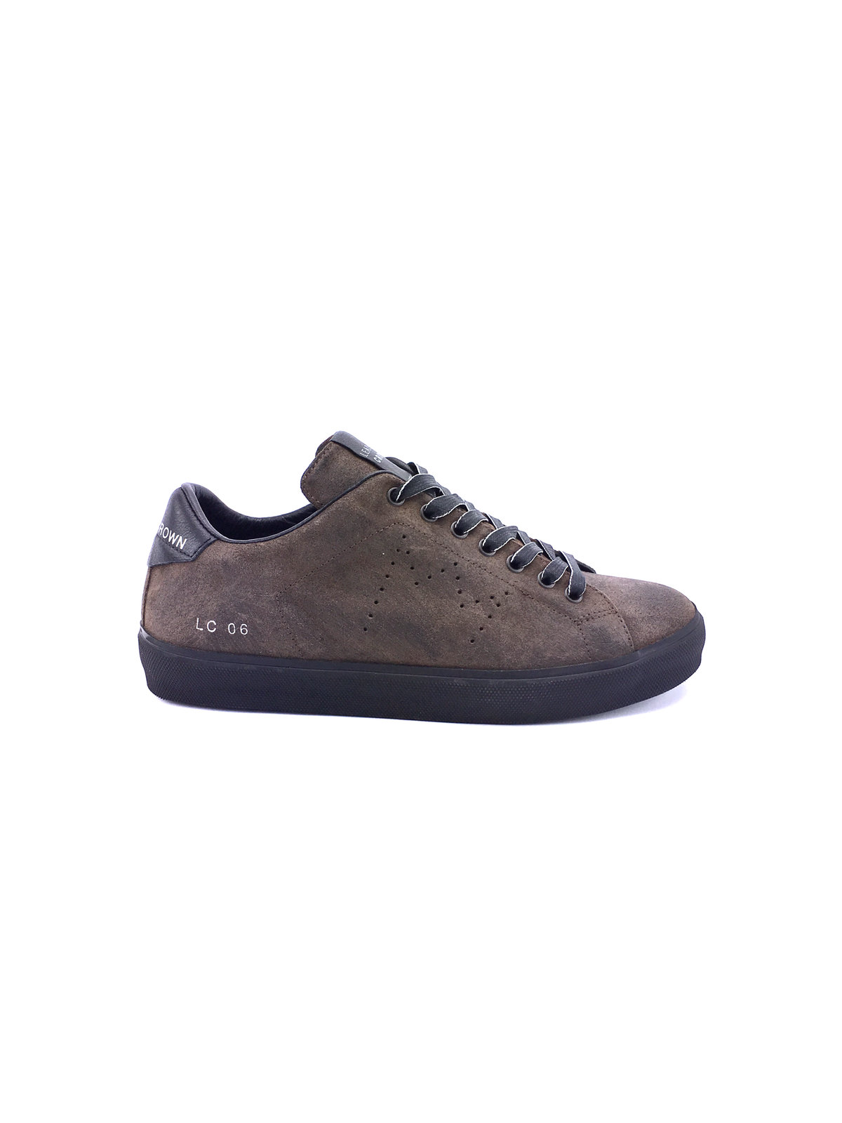 Dark marrón Leather Leather Crown zapatillas