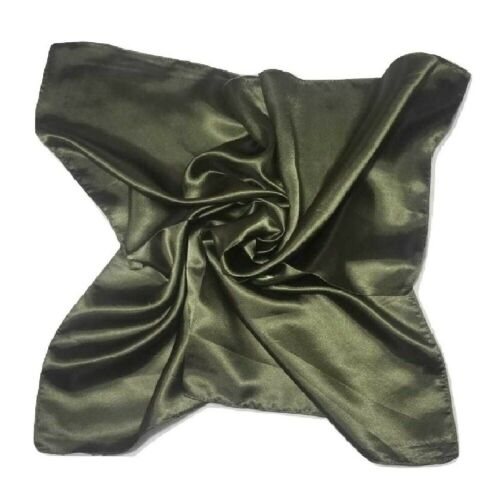 Women Soft Satin Silk Square Scarf Small Plain Neck Wrap Headband 60*60 cm