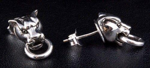 TIGER SOLID 925 STERLING SILVER MENS STUD EARRINGS ROCKER BIKER PUNK GOTHIC NEW