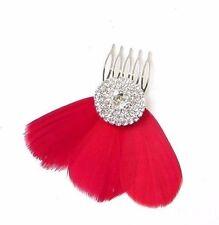 Red Feather Fascinator Hair Comb Silver Diamante Bridesmaid 1920s Clip Vtg 2396