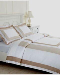 100-Martha-Stewart-Thompson-Square-Tan-White-Core-2-Piece-Standard-Pillow-Shams