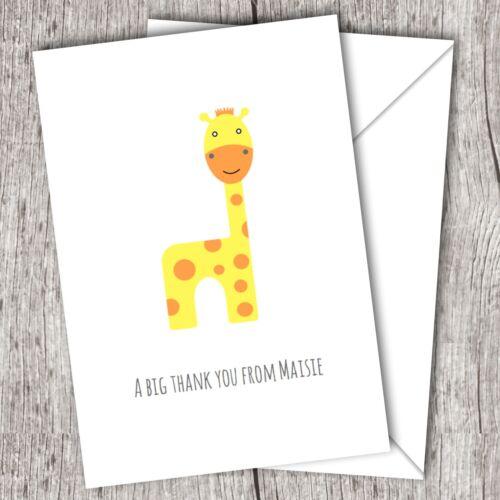 Personnalisé plié remerciement ~ garçons//filles//enfants ~ jaune girafe