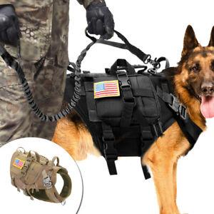 Large-Tactical-Dog-Harness-Detachable-Bag-Lead-Molle-Military-Vest-Dobermans-M-L