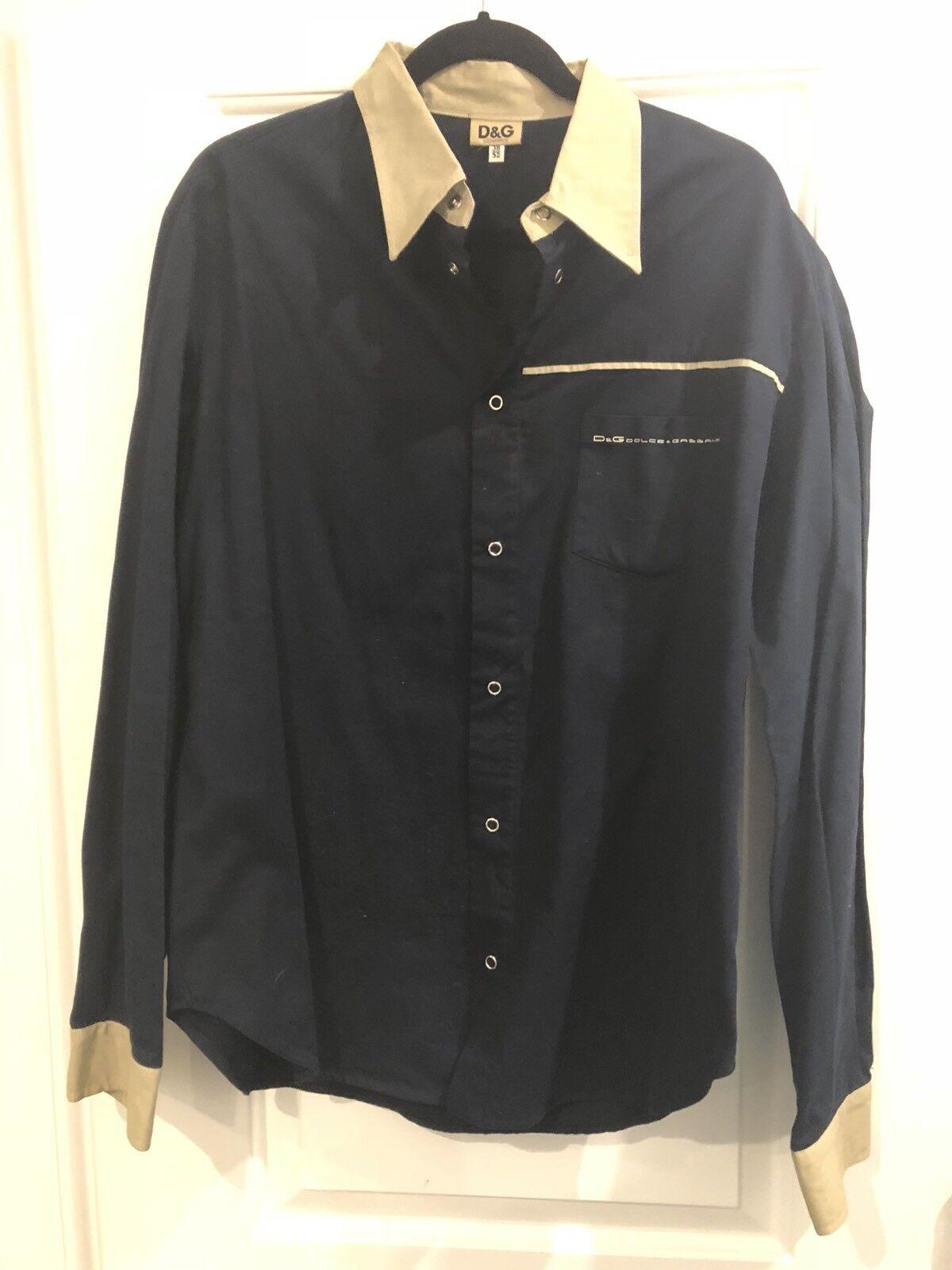 Men's D & G Dolce and Gabana button down shirt Navy Blau Beige Collar Cuff 38/52