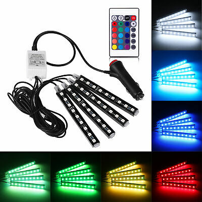 4XRGB 7Color 5050 SMD LED Neon Strip Light Music Remote Control For Car Interior