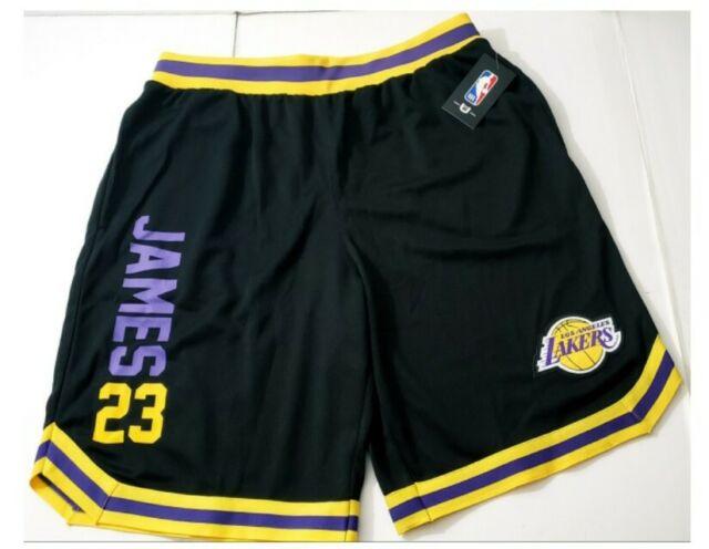 NBA Lakers Basketball Shorts Lebron James White Purple ...