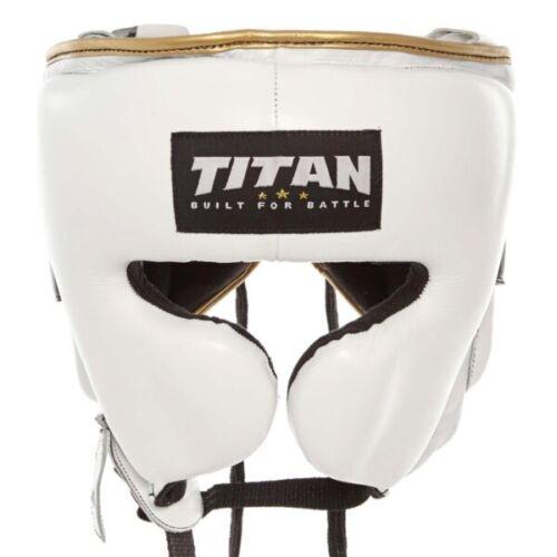 SALE Black /& Gold TITAN® Leather Boxing Head Guard White