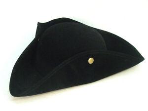 Tricorn-Pirate-Outlander-Revolutionary-War-Poldark-Colonial-Black-faux-suedehat