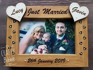 Personalised-hand-made-wedding-photo-frame-engraved-gift-Just-Married