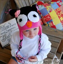 BonEful RTS NEW Boutique Crochet Knit Baby S GIRL Gift OWL PINK Black WINTER HAT