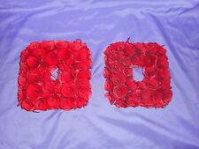 "8"" X 8"" ROSE WOOD CURL WREATHS (2) RED CHRISTMAS VALENTINE WEDDING CENTERPIECE"