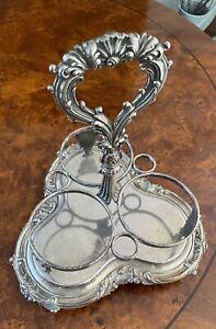 Stunning Antique  Silver Plate Triple Wine Holder/Carrier Sheffield