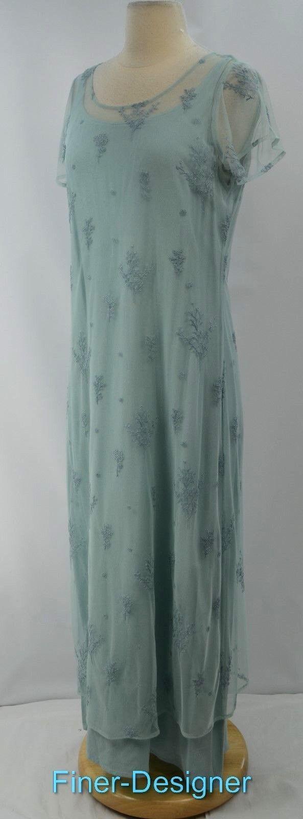 J J. Jill long 2pc mesh illusion maxi Dress Peasant embroidered sheath SZ S NEW