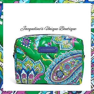 NWT Vera Bradley Large Puffy Cosmetic Emerald Paisley Green MSRP $34. FREE SHIP