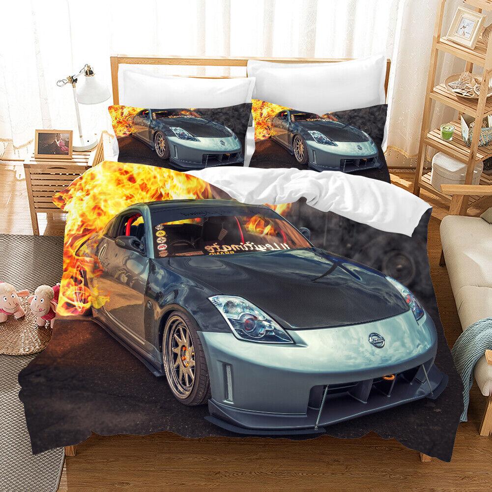 3D Famous Car Flame Quilt Cover Set Bedding Duvet Cover Double Queen King 3pcs 3