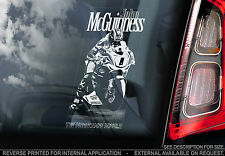 John McGuinness-Superbike Coche Etiqueta De La Ventana-Isla de Man iomtt N. Guy Martin TT