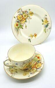 Art-Deco-Royal-Doulton-porcelain-Marie-pattern-cup-saucer-amp-side-plate-VGC