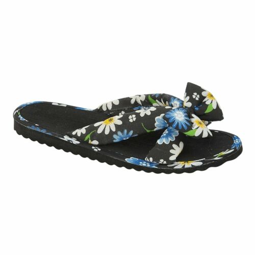 Ladies Floral Mule Bow Knot Womens Open Toe Sandals Slipper Slip on Shoes Size 4