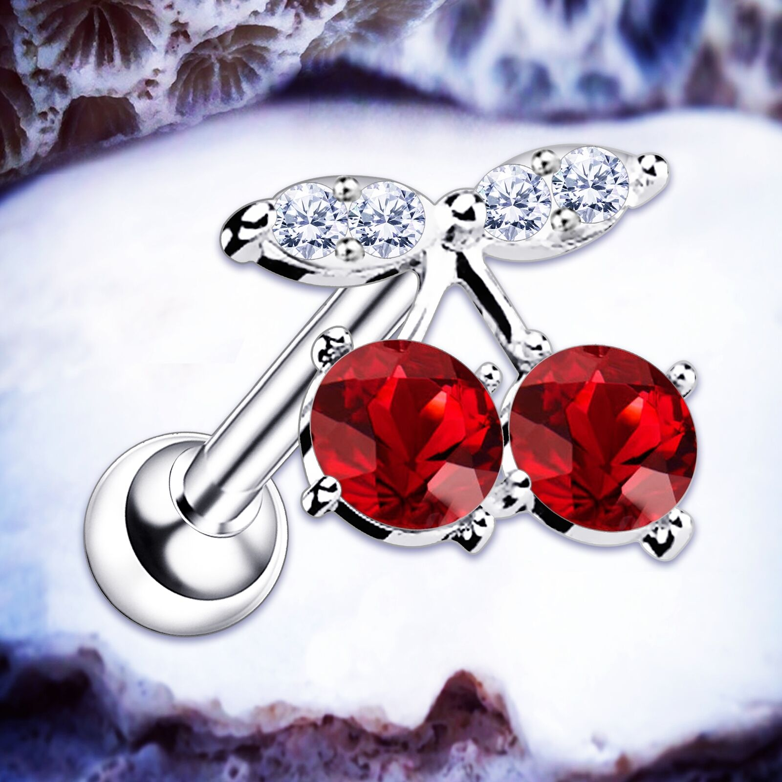 Cherry Earrings Crystal Cartilage Earring Silver Helix Studs Conch Bar Tragus UK