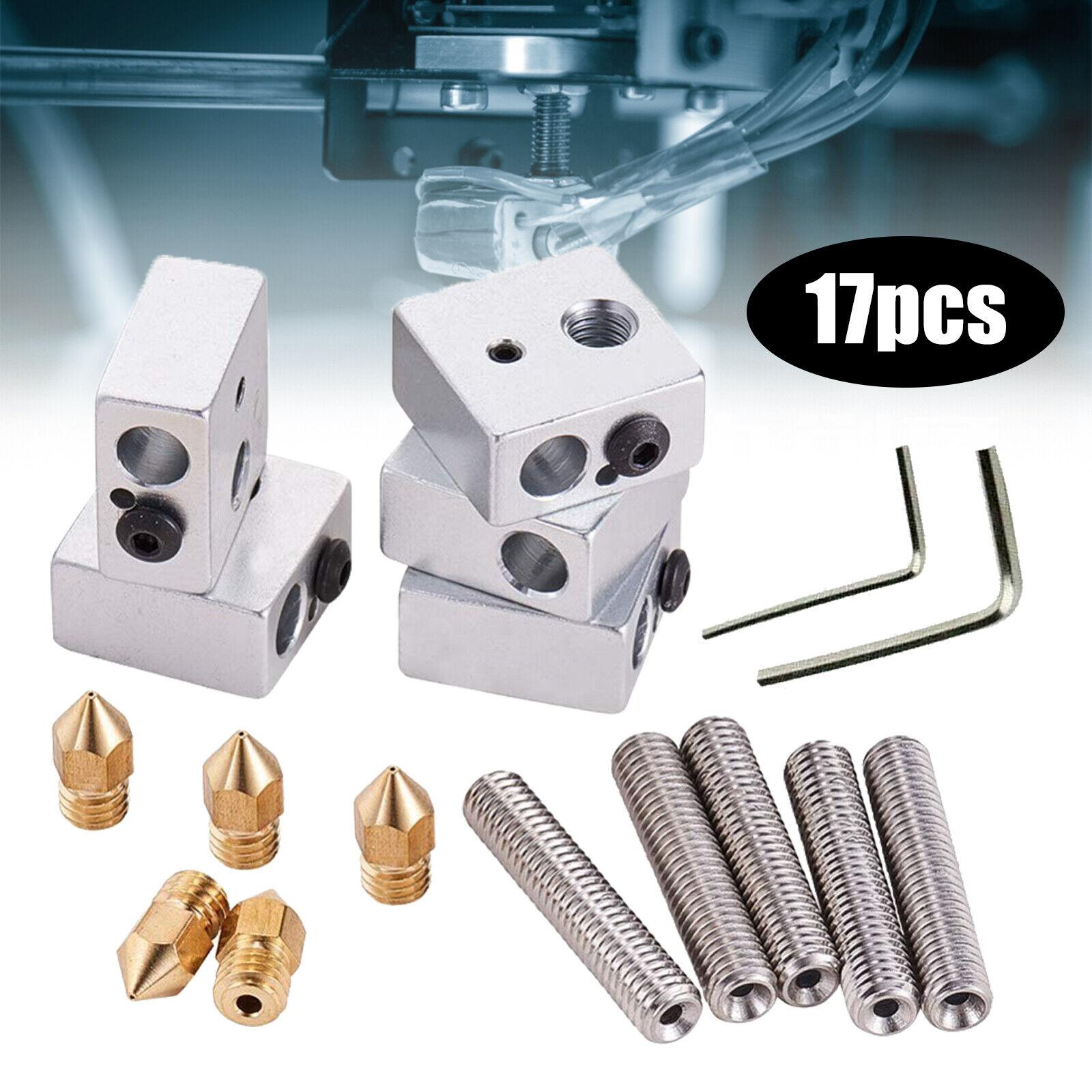 17PCS 3D Printer Nozzles Extruder Throat Tube Heating Blocks Hotend Anet MK8 Set