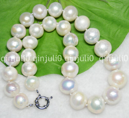 """WHITE ROUND SOUTH SEA BAROQUE PEARL HUGE 13-16MM NECKLACE 18/"""" JEWELRY BOX JN559"""