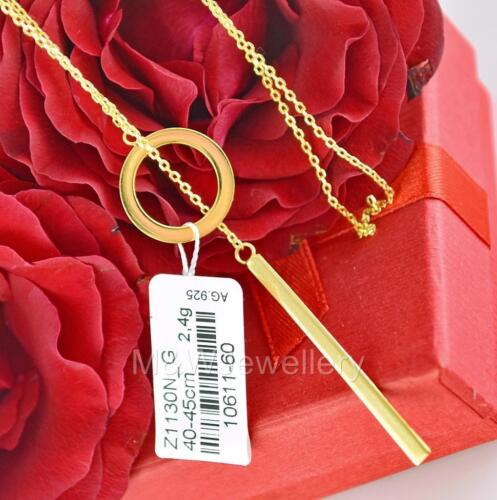 GOLD PLATED 925 STERLING SILVER LARIAT CHAIN NECKLACE WITH CIRCLE