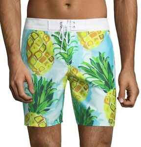268a4a350c MR TURK 'Malibu' Men's Pineapple Print Swim Trunks / Board Shorts 30 ...