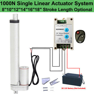 """Set of 2 10/"""" 12V 1000N Linear Actuators W// Switchable Forward Reverse Controller"""