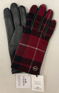 Genuine-COACH-Tech-Gloves-for-Women-Leather-Signature-Plaid-Black-Red-MSRP-148