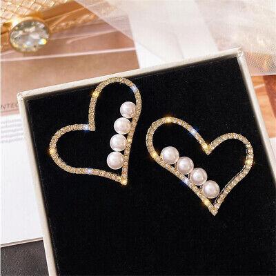 Fashion Women Full Pearl Round Circle Heart Drop Earrings Dangle Wedding Jewelry