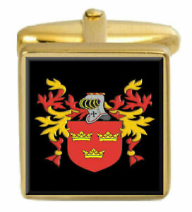 Maley Irland Familie Wappen Familienname Gold Manschettenknöpfe Graviert Kiste Erfrischung